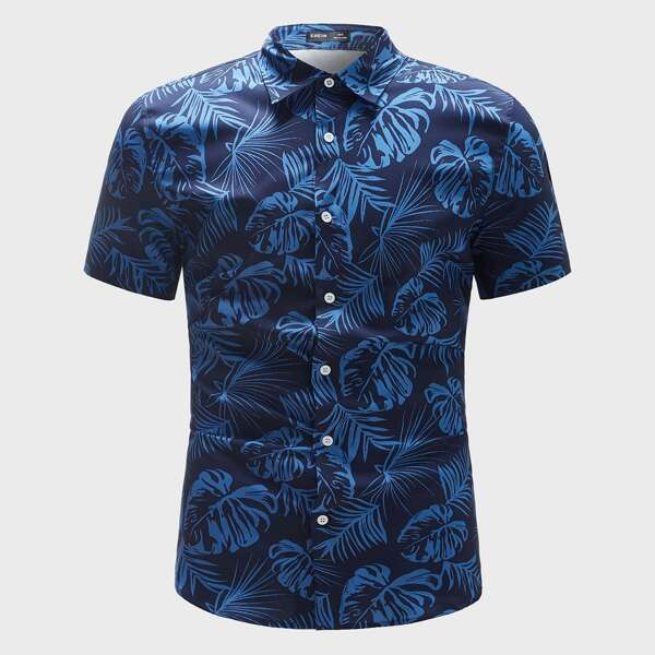 Men Tropical Print Button Through Shirt, Blue
