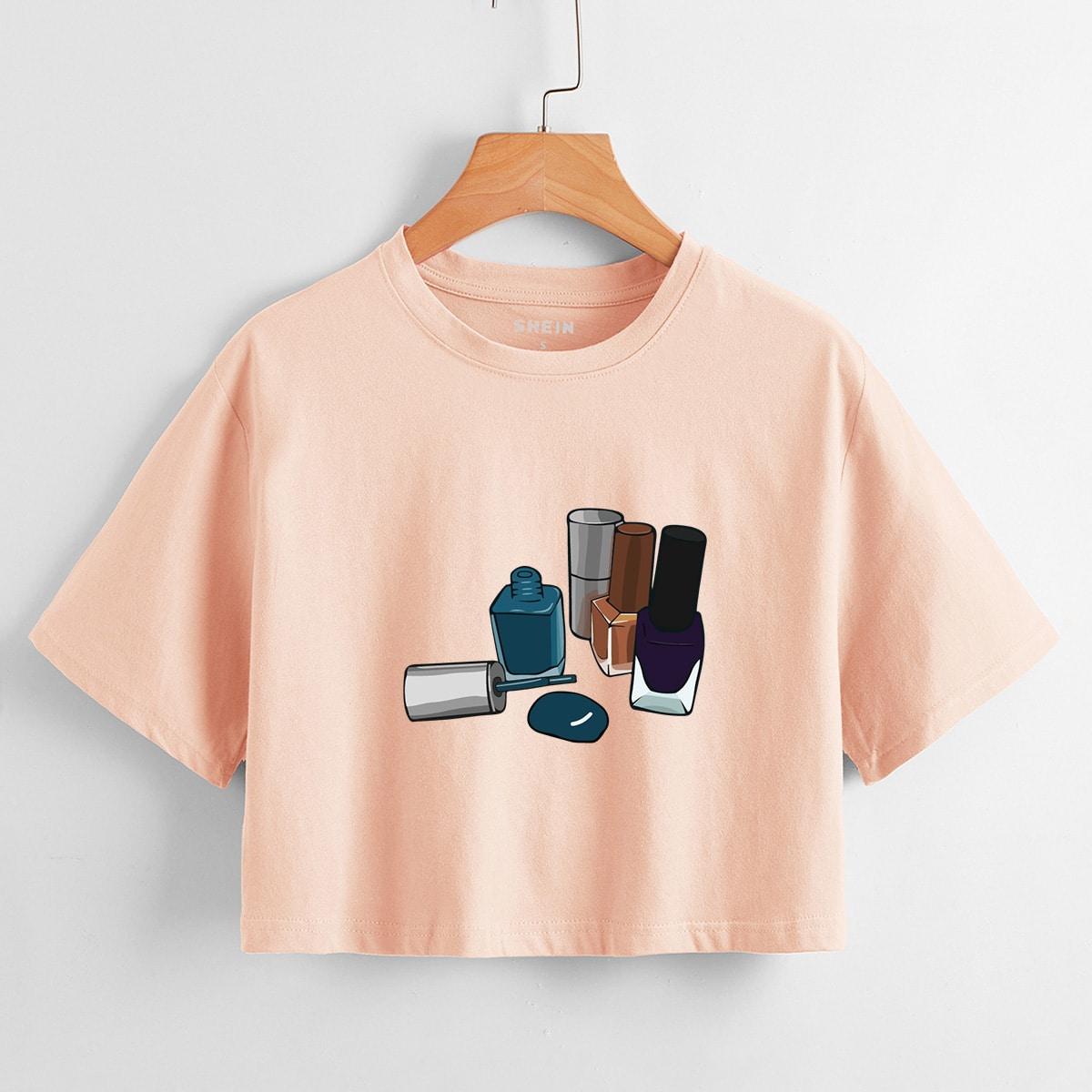 Лак для ногтей принтом Кроп-футболка