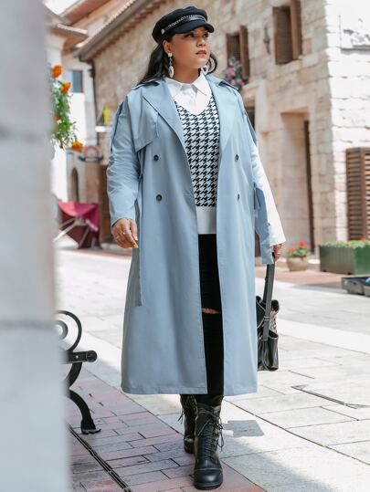 Simplee Plus Double Breasted Belted Split Back Trench Coat
