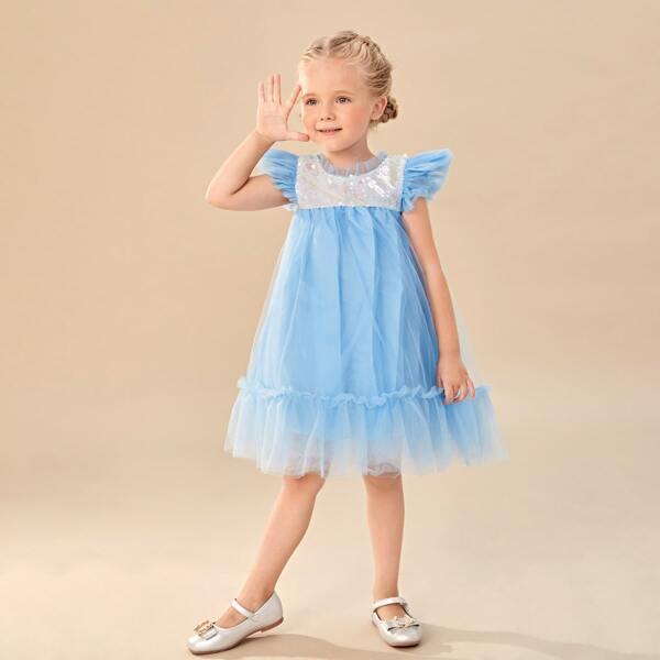 Toddler Girls Ruffle Trim Contrast Sequin Party Dress, Blue