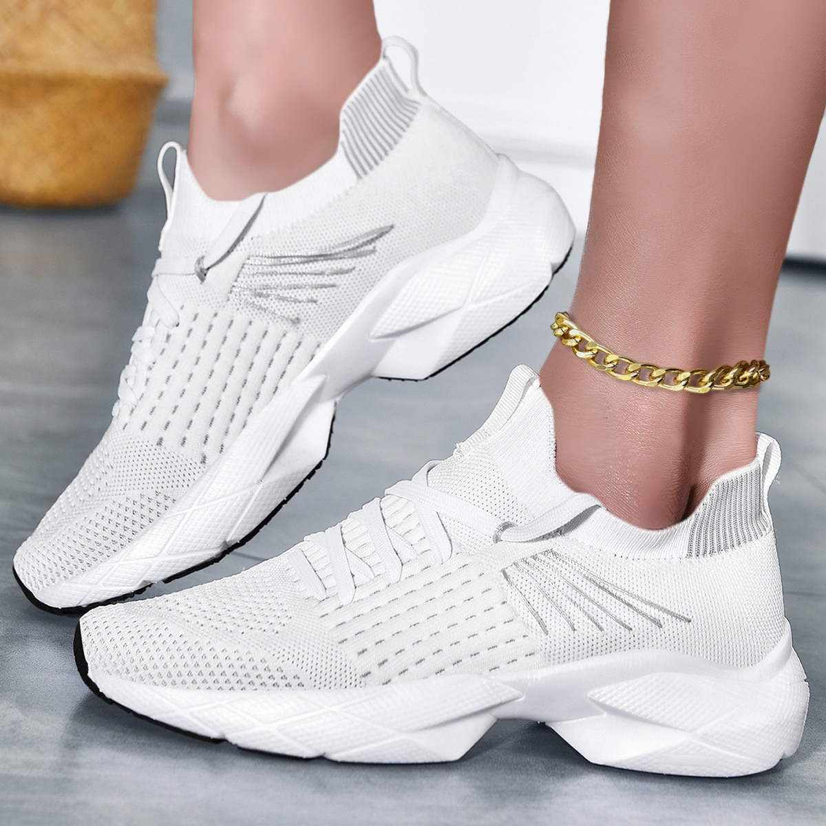 Knit Hollow Out Running Shoes, SHEIN  - buy with discount