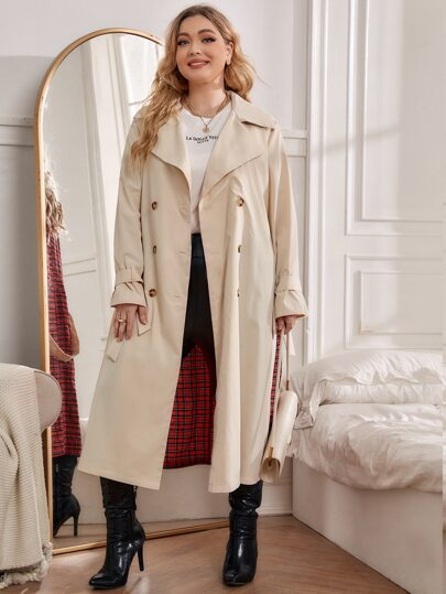 SHEIN Plus Lapel Neck Plaid Print Double Breasted Belted Trench Coat