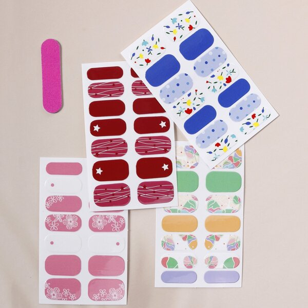 4sheets Nail Art Sticker & 1pc Nail File, Multicolor