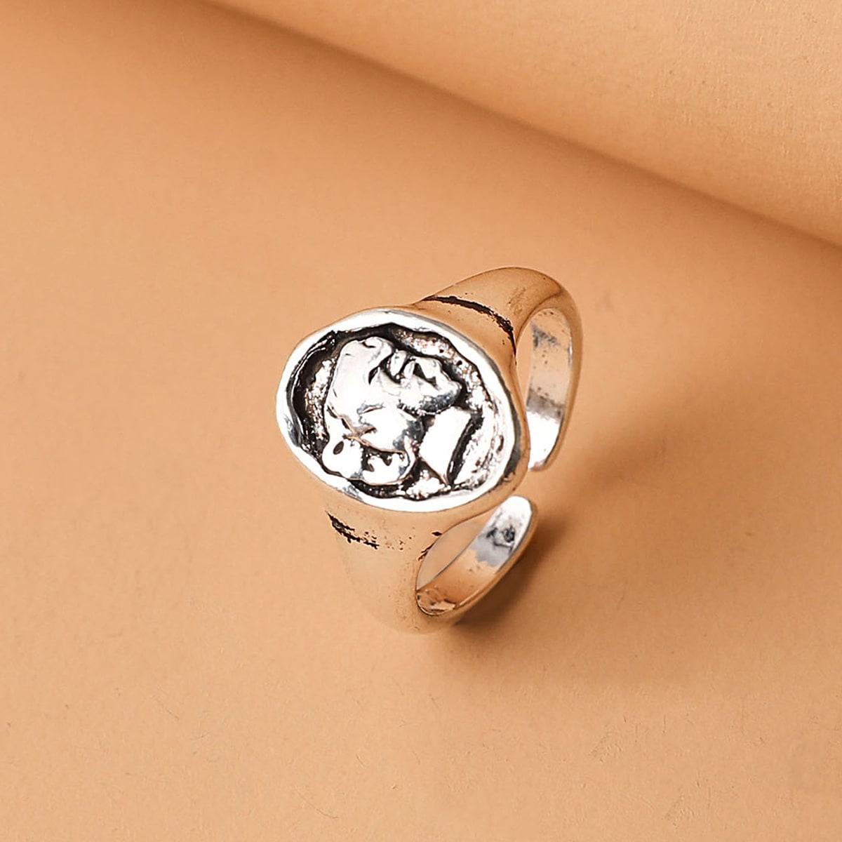 Открытое кольцо с геометрическим декором