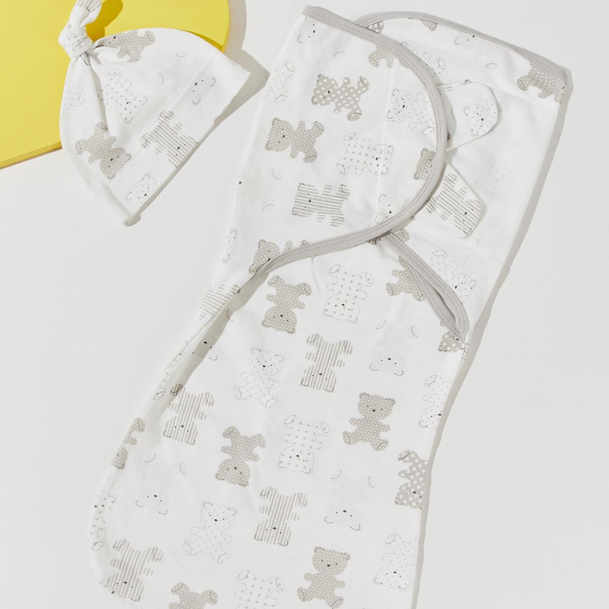 Baby Cartoon Bear Print Sleep Bag With Hat, SHEIN  - buy with discount