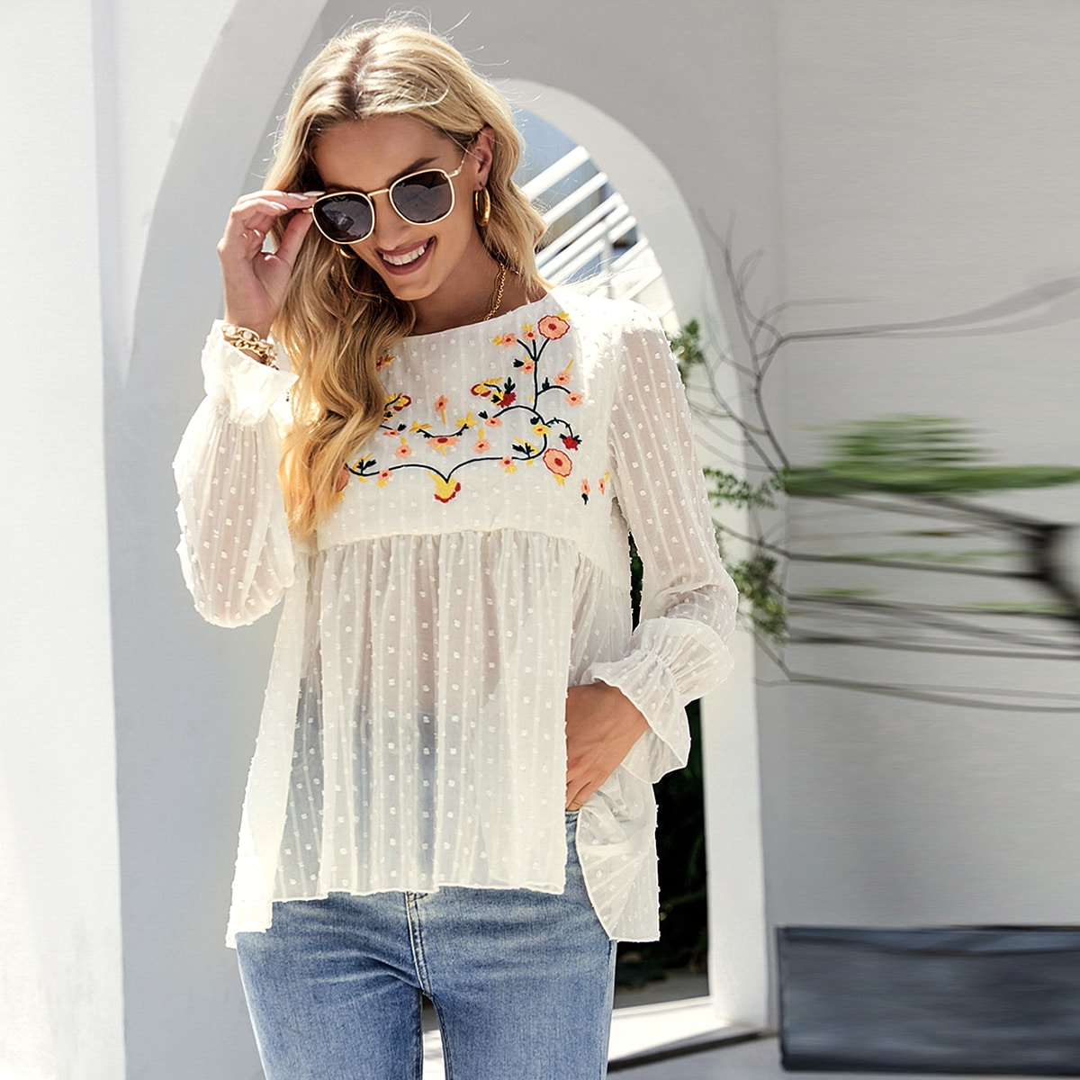 Swiss Dot Floral Embroidery Blouse, SHEIN  - buy with discount