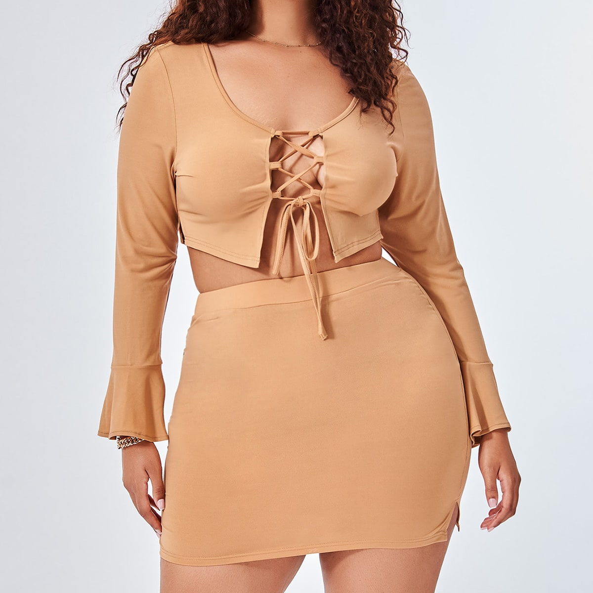 Plus Lace Up Front Flounce Sleeve Top & Split Hem Bodycon Skirt, SHEIN  - buy with discount