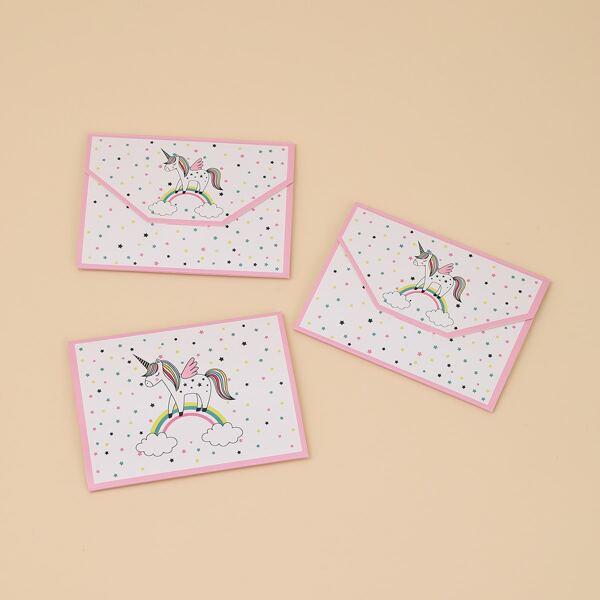 12pcs Unicorn Print Invitation Card, Multicolor