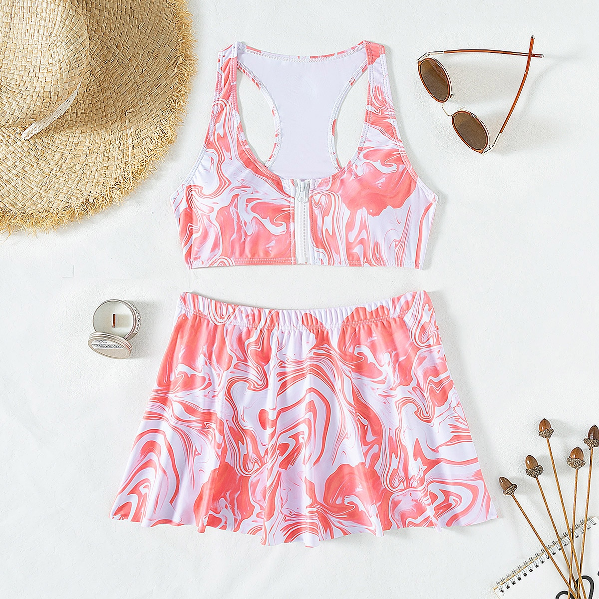 Marble Print Zipper Front Bikini Swimsuit