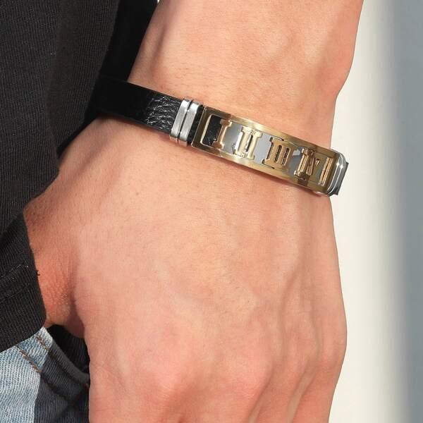 Men Roman Numeral Detail Bracelet, Black