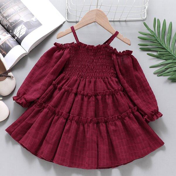 Toddler Girls Shirred Frilled Cold Shoulder Flounce Sleeve Ruffle Hem Dress, Burgundy