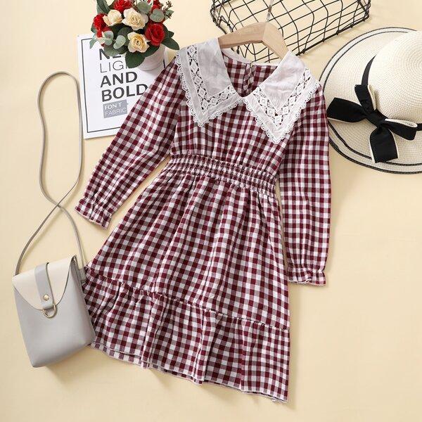 Girls Gingham Print Peter-pan Collar Ruffle Hem Shirred Dress, Red and white