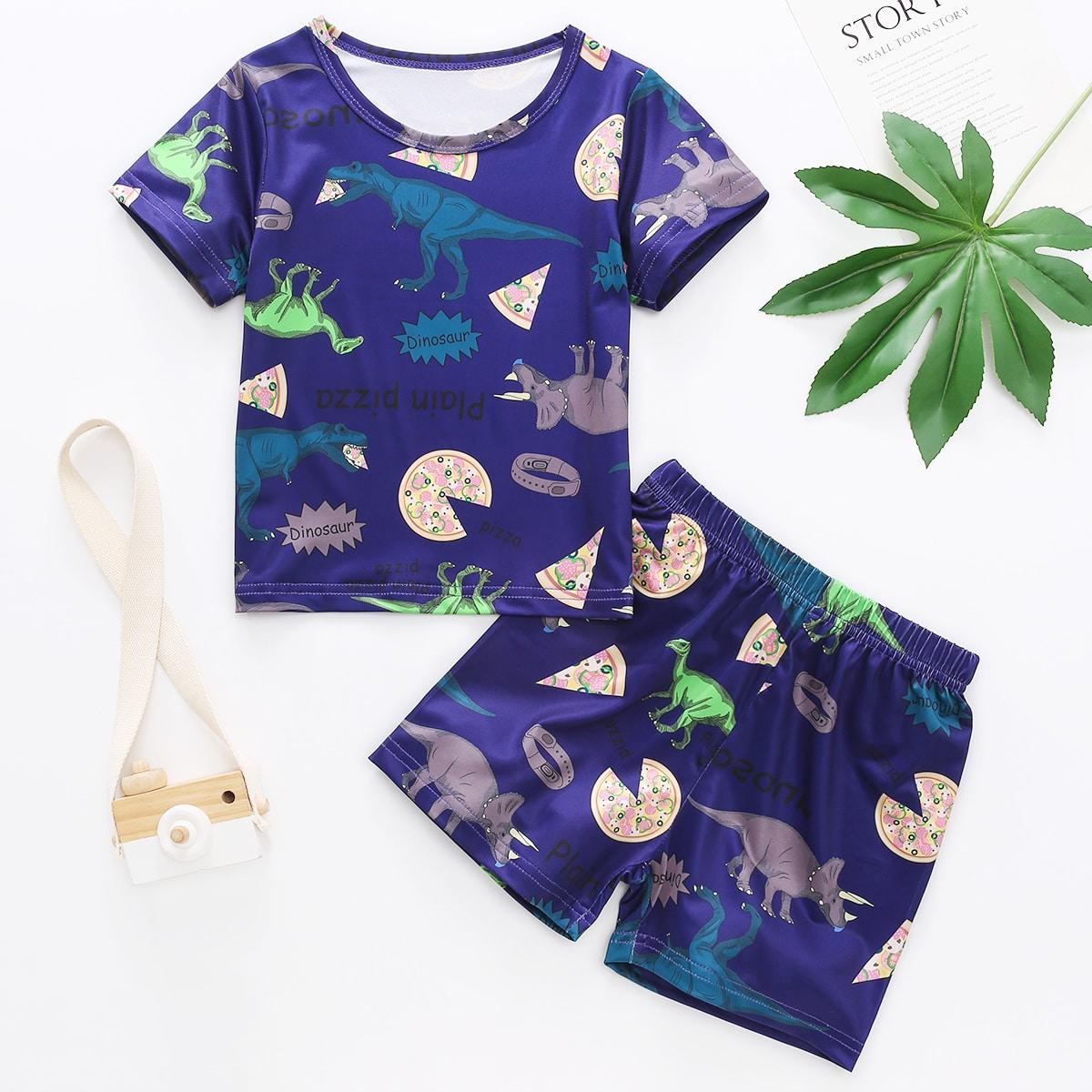 Пижама с принтом динозавра для мальчиков SHEIN. Цвет: темно-синий