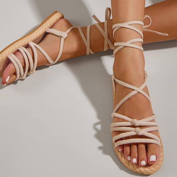 Minimalist Flat Gladiator Sandals, Apricot