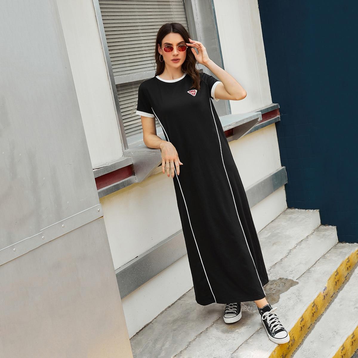 Vestido con diseño de parche en contraste con costura