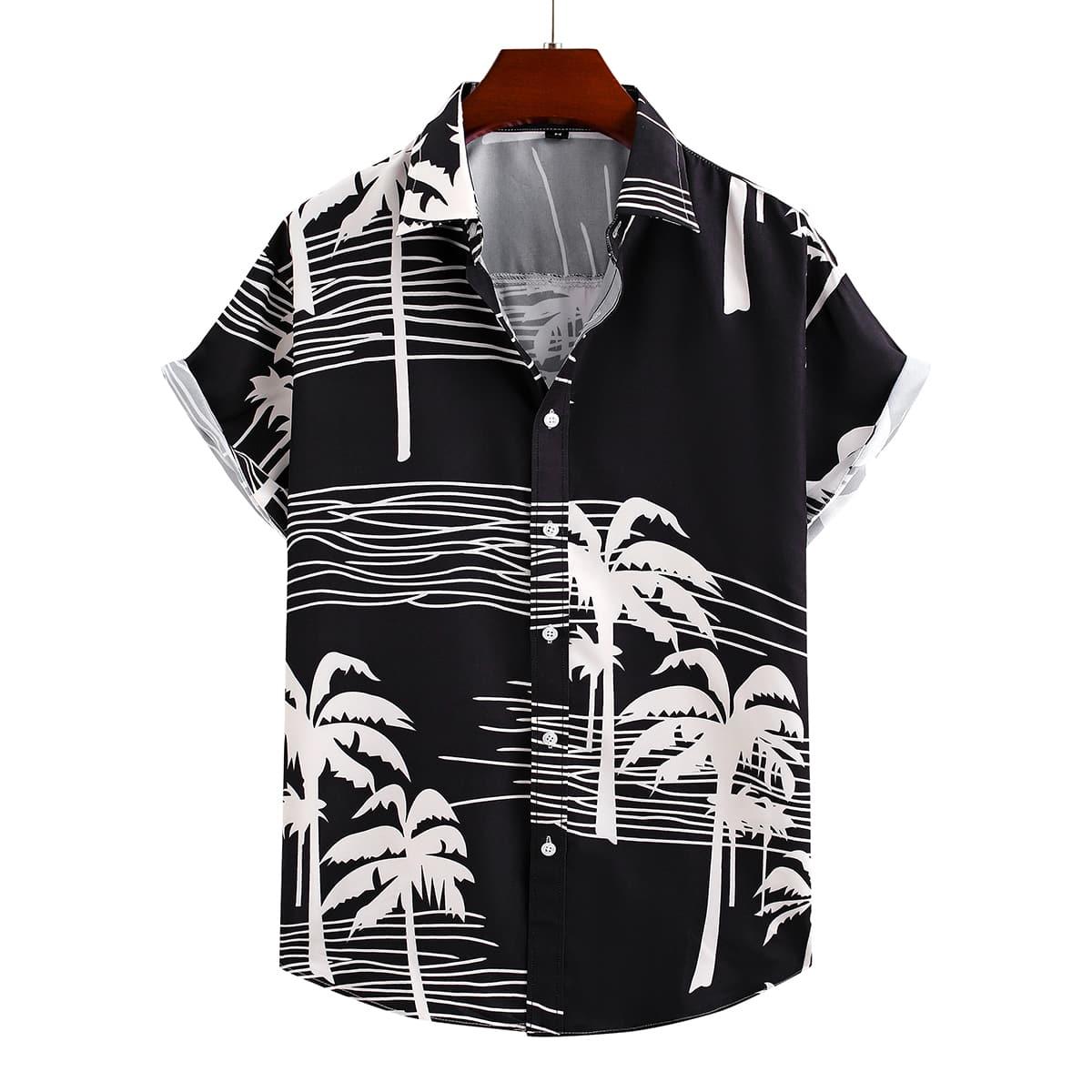 Мужская случайная рубашка в полоску на пуговицах с коротким рукавом