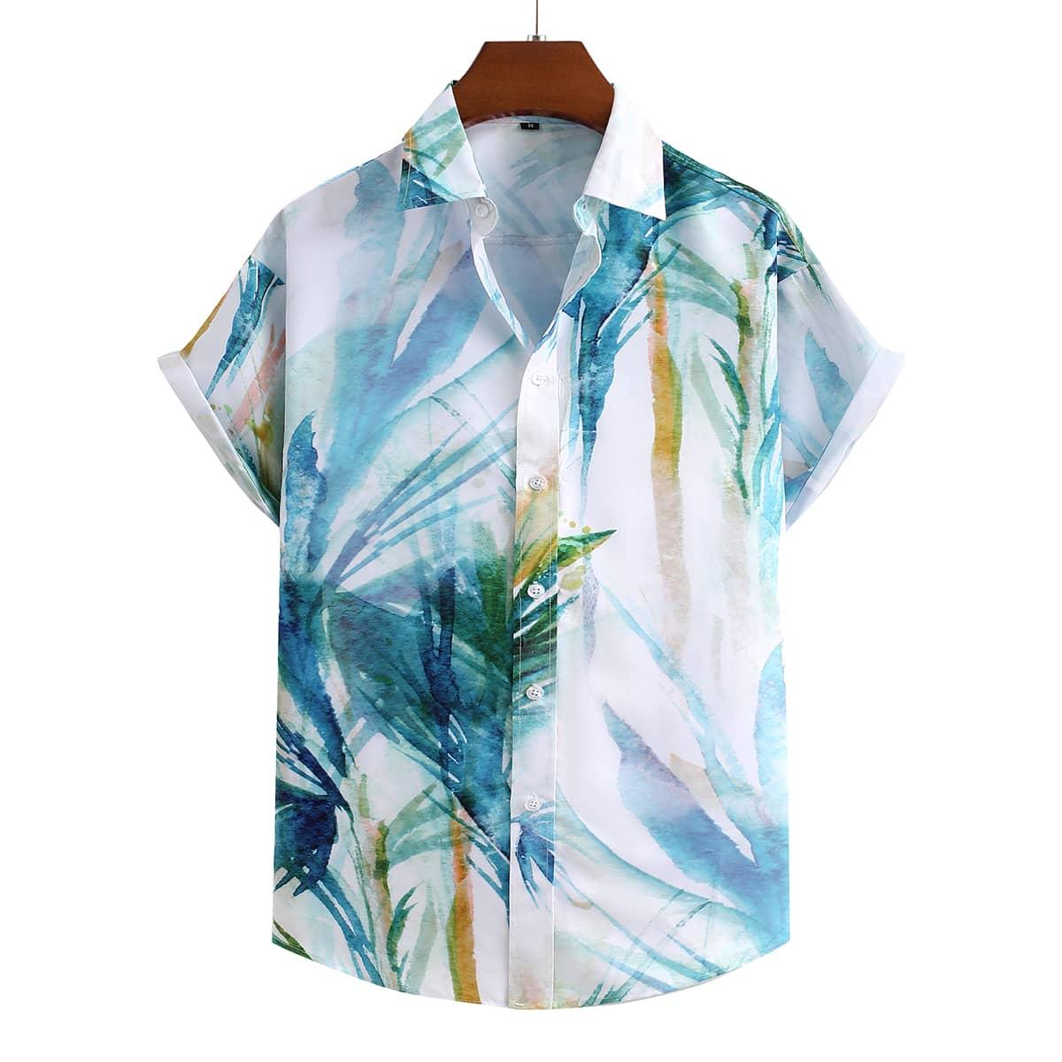 Мужской Рубашка с тропическим принтом