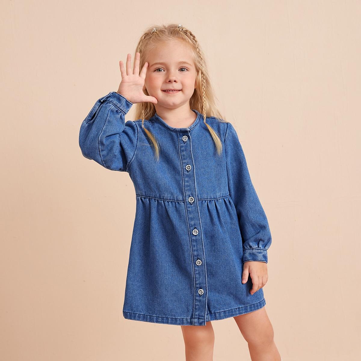 для девочек Джинсовое платье-рубашка SheIn sk2106282023027607
