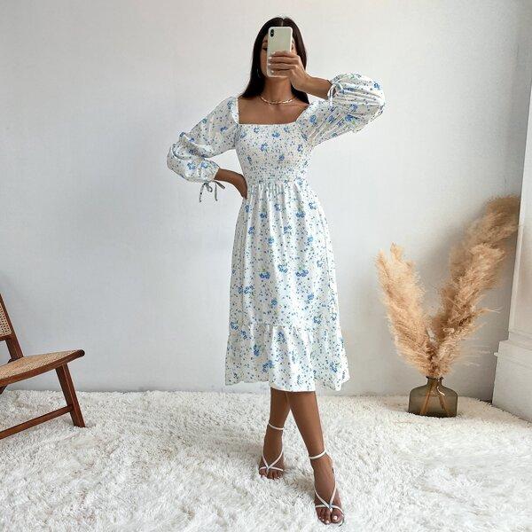 Floral Print Shirred Tie Cuff Square Neck Ruffle Hem Milkmaid Dress, White