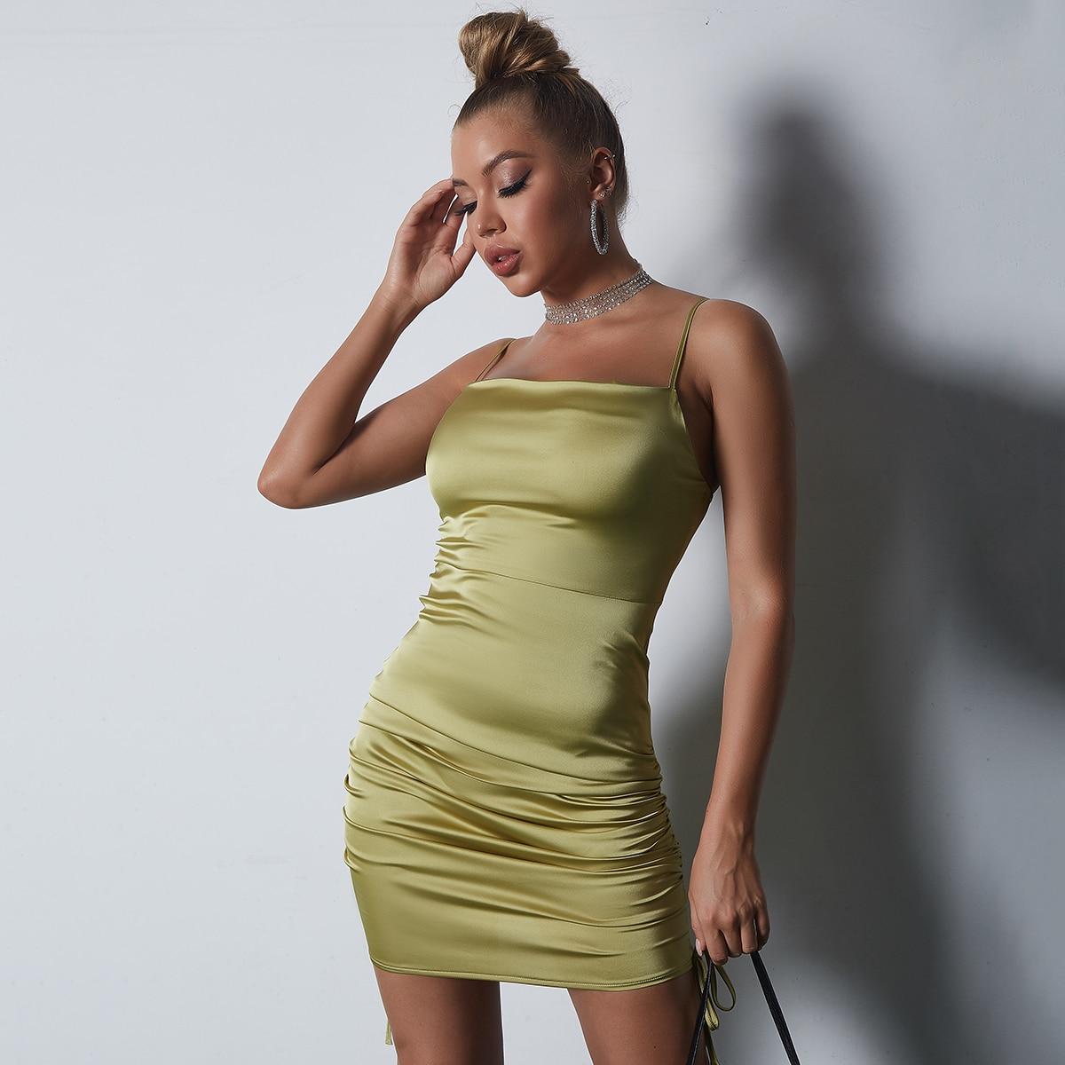 Атласное облегающее платье на молнии сзади SheIn sw2107205554804311