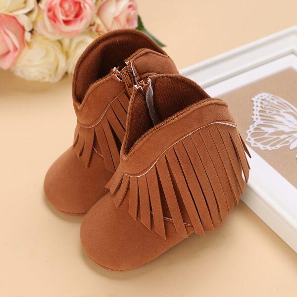 Baby Minimalist Braided Design Buckle Decor Boots, Brown