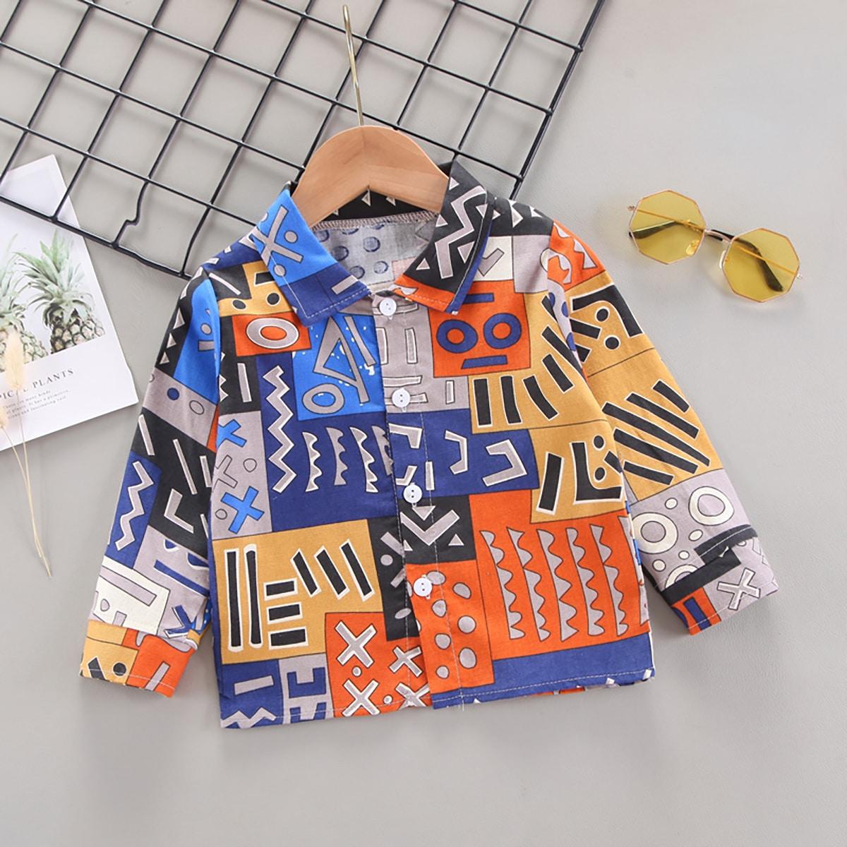 для мальчиков Рубашка с принтом пэчворк