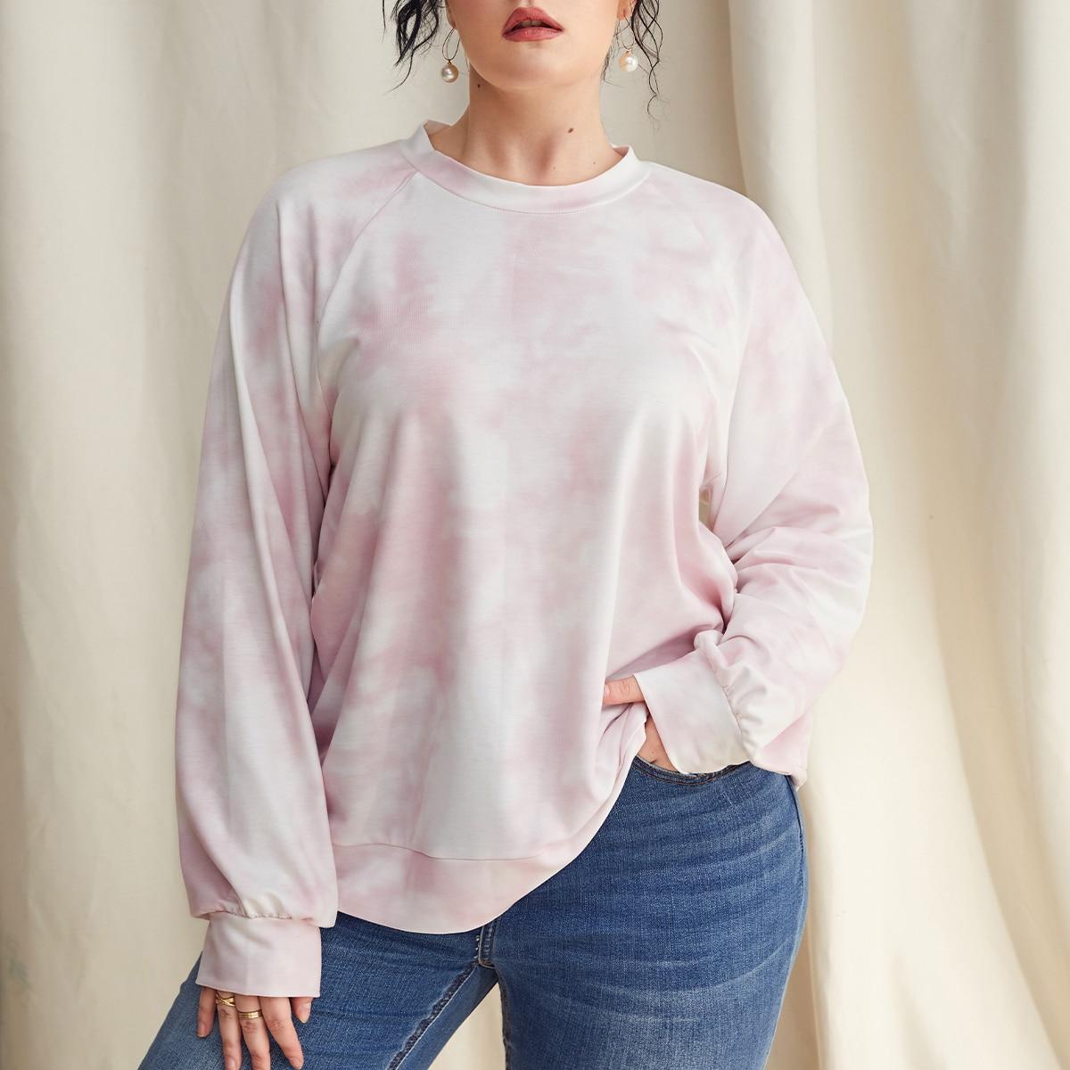 Пуловер размера плюс с рукавами реглан