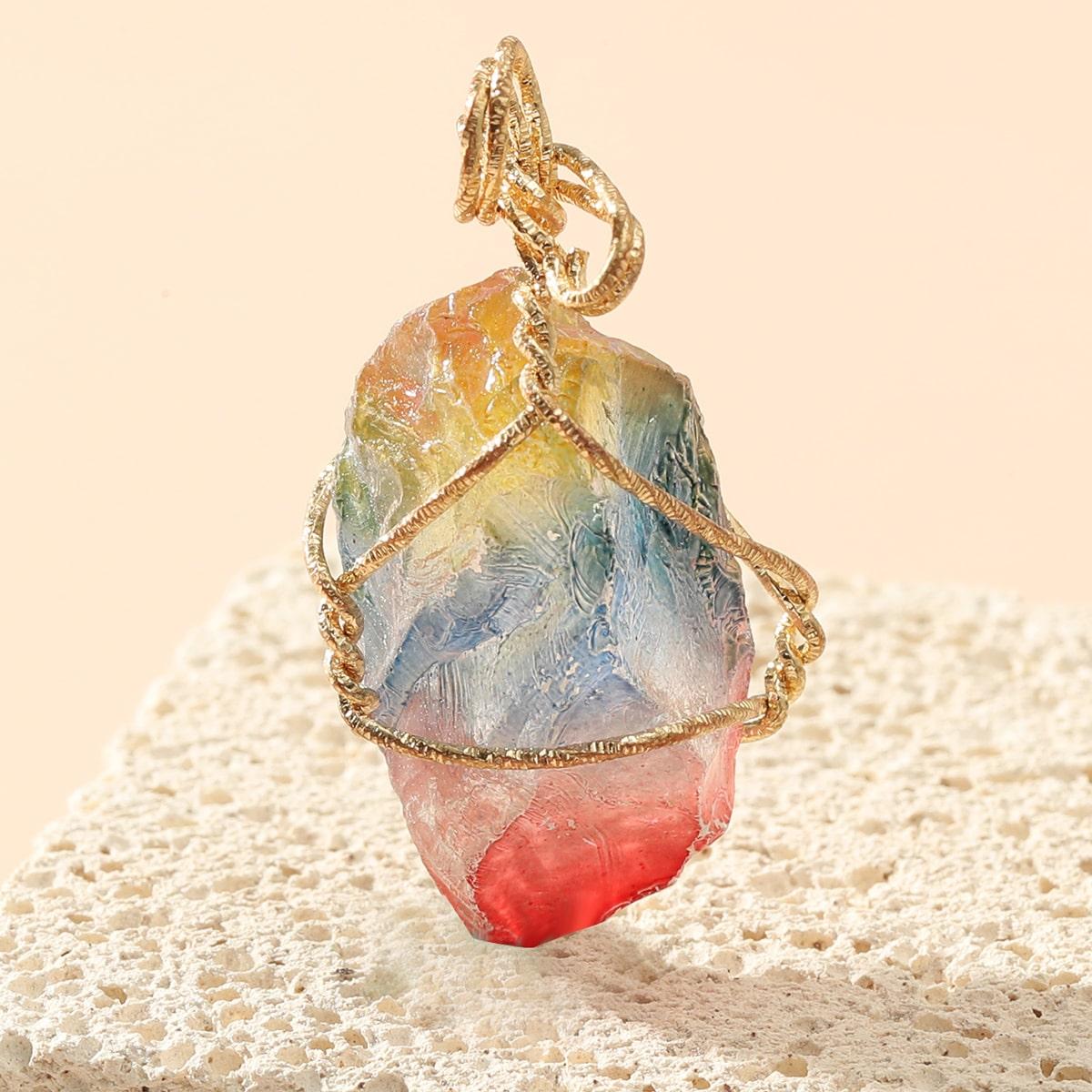 красочный камень подвеска