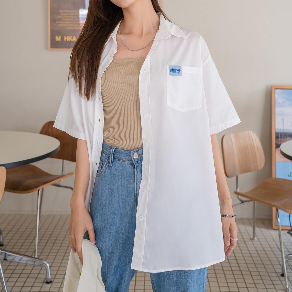 Блузка со спущенным рукавом SheIn sW210610190270901