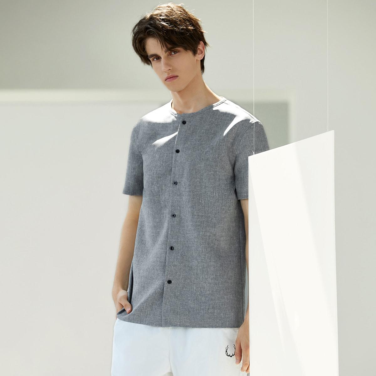 Мужская вязаная рубашка на пуговицах с мраморным рисунком