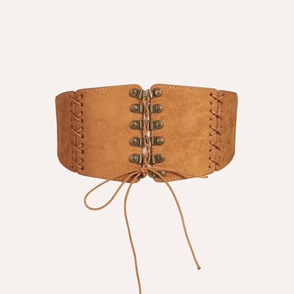 Lace-up Front Corset Belt, Camel