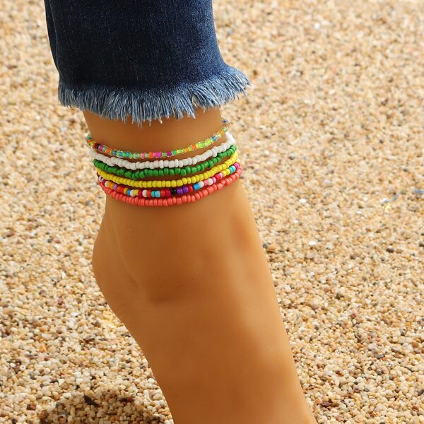 6pcs Simple Beaded Anklet, Multicolor