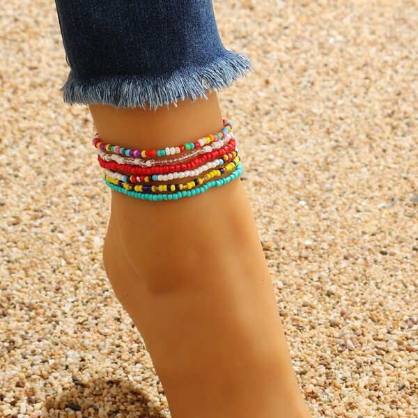 6pcs Beaded Anklet, Multicolor