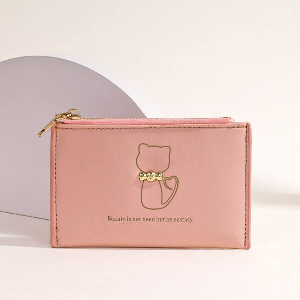 Letter Graphic Metal Decor Small Wallet, Pink