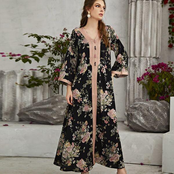 Allover Floral Print Taped Trim Tunic Dress, Black