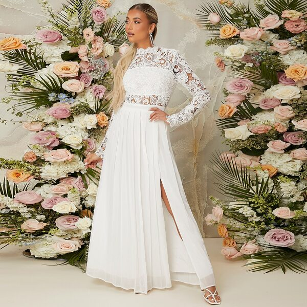 Guipure Lace Insert Zip Back Split Thigh Dress, White