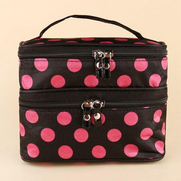 Polka Dot Multi-Layer Cosmetic Makeup Bag, Multicolor