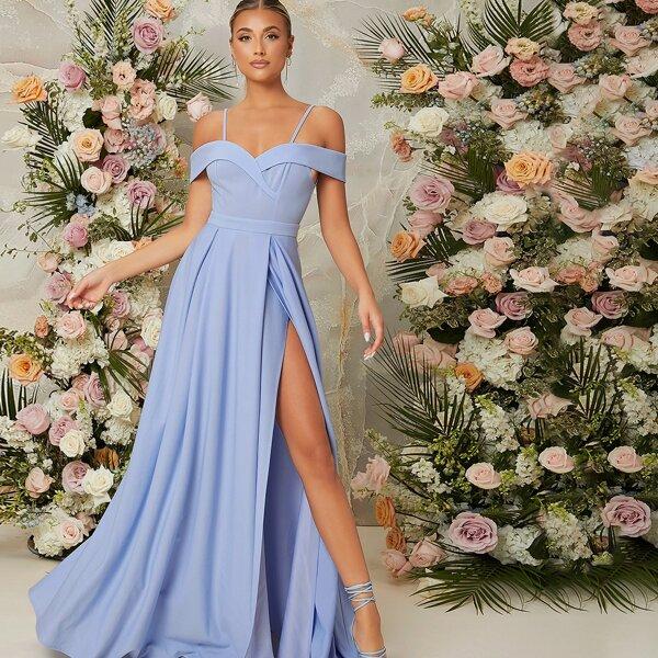 Cold Shoulder Split Thigh Dress, Baby blue