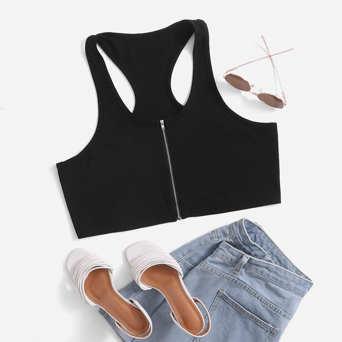 Plus Zip Up Racer Back Tank Top, SHEIN  - buy with discount