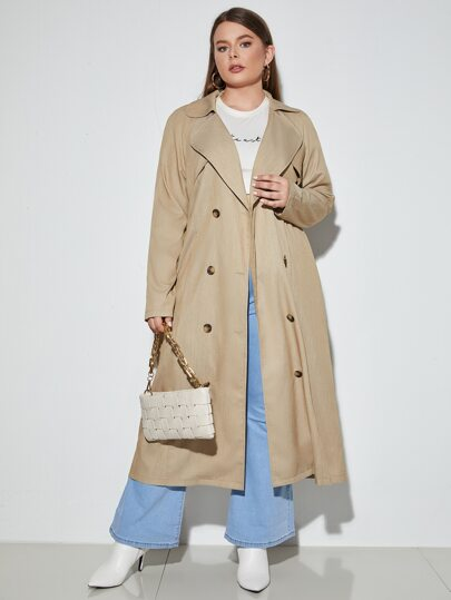 Plus Lapel Neck Double Breasted Trench Coat