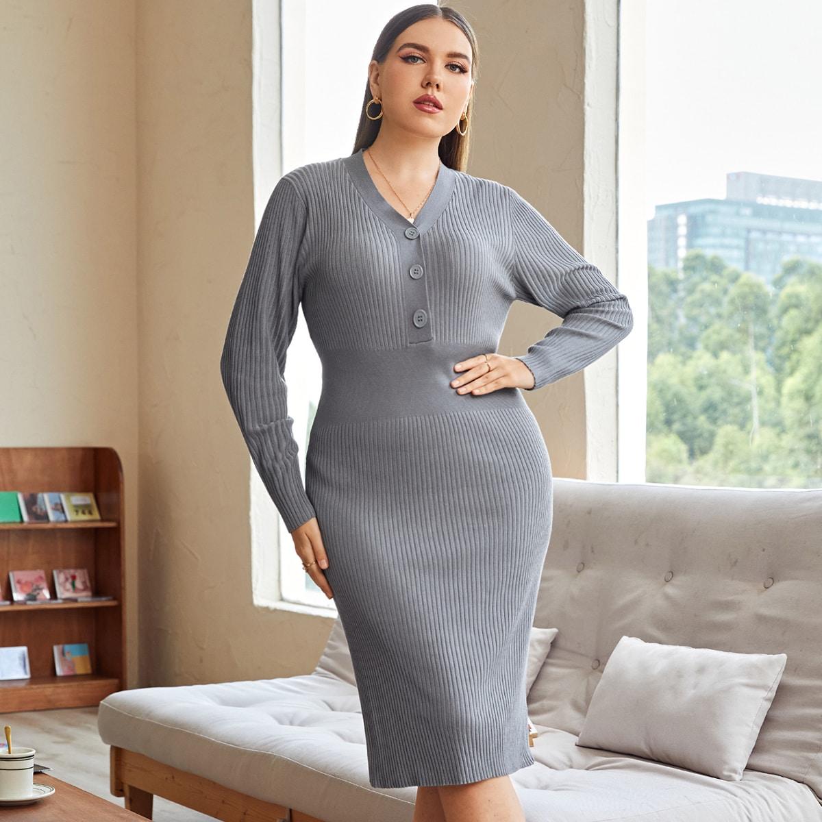 Однотонное платье-свитер размера плюс