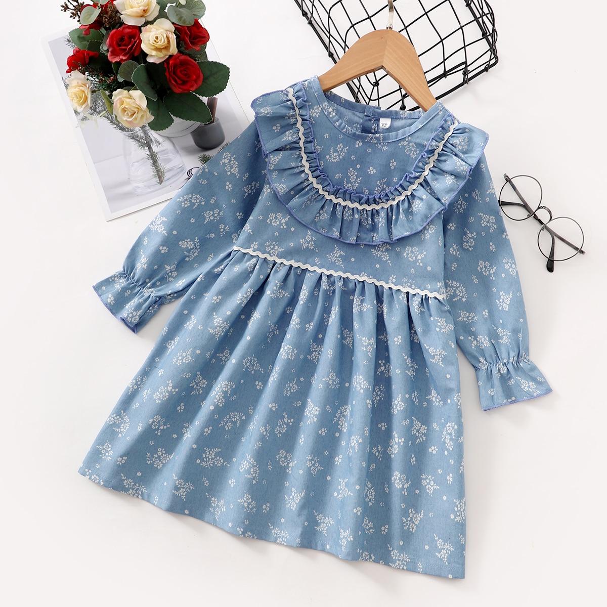 Джинсовое платье с цветочным принтом для девочек SheIn skdress25210607691