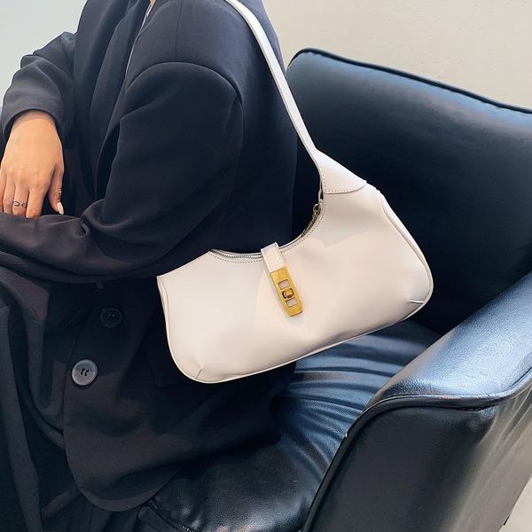Minimalist Twist Lock Baguette Bag, White