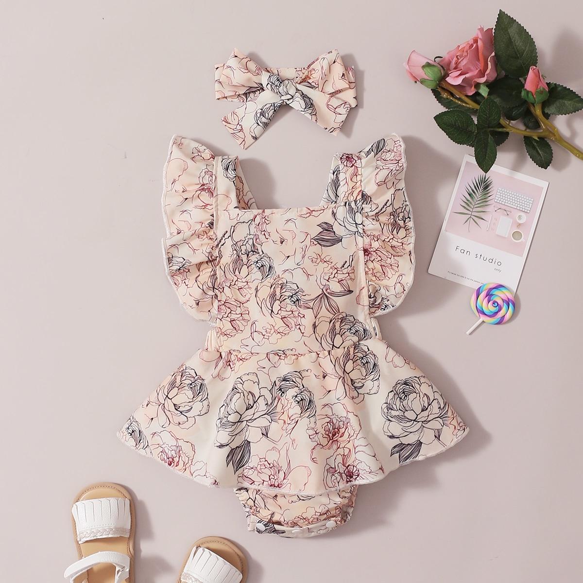 Платье-боди и повязка на голову с цветочным принтом для девочек от SHEIN