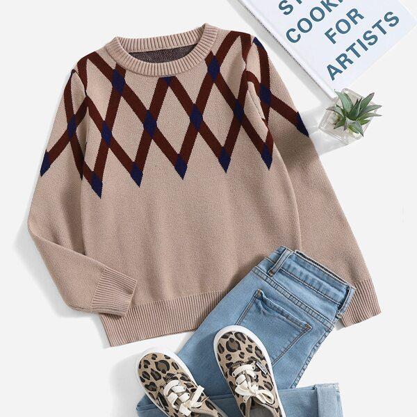 Girls Argyle Pattern Round Neck Sweater, Khaki