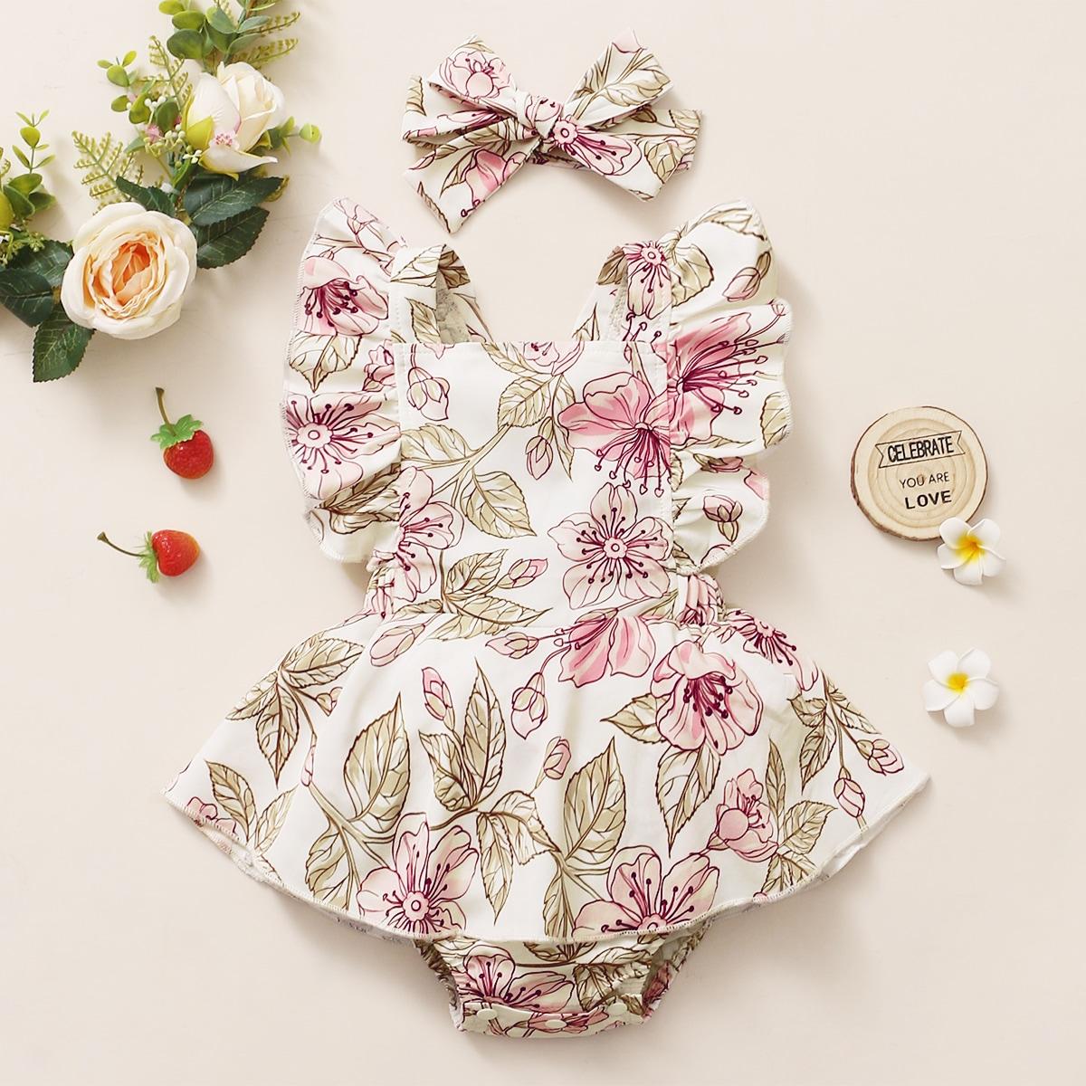 для девочек с цветочным принтом Составной комплект Боди Платье & Ободок для волос от SHEIN