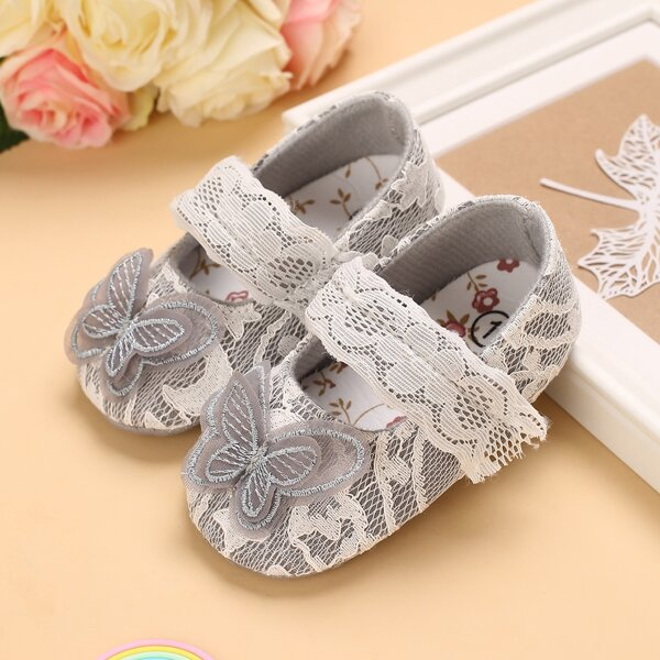Baby Butterfly Appliques Lace Velcro Strap Flats, Grey