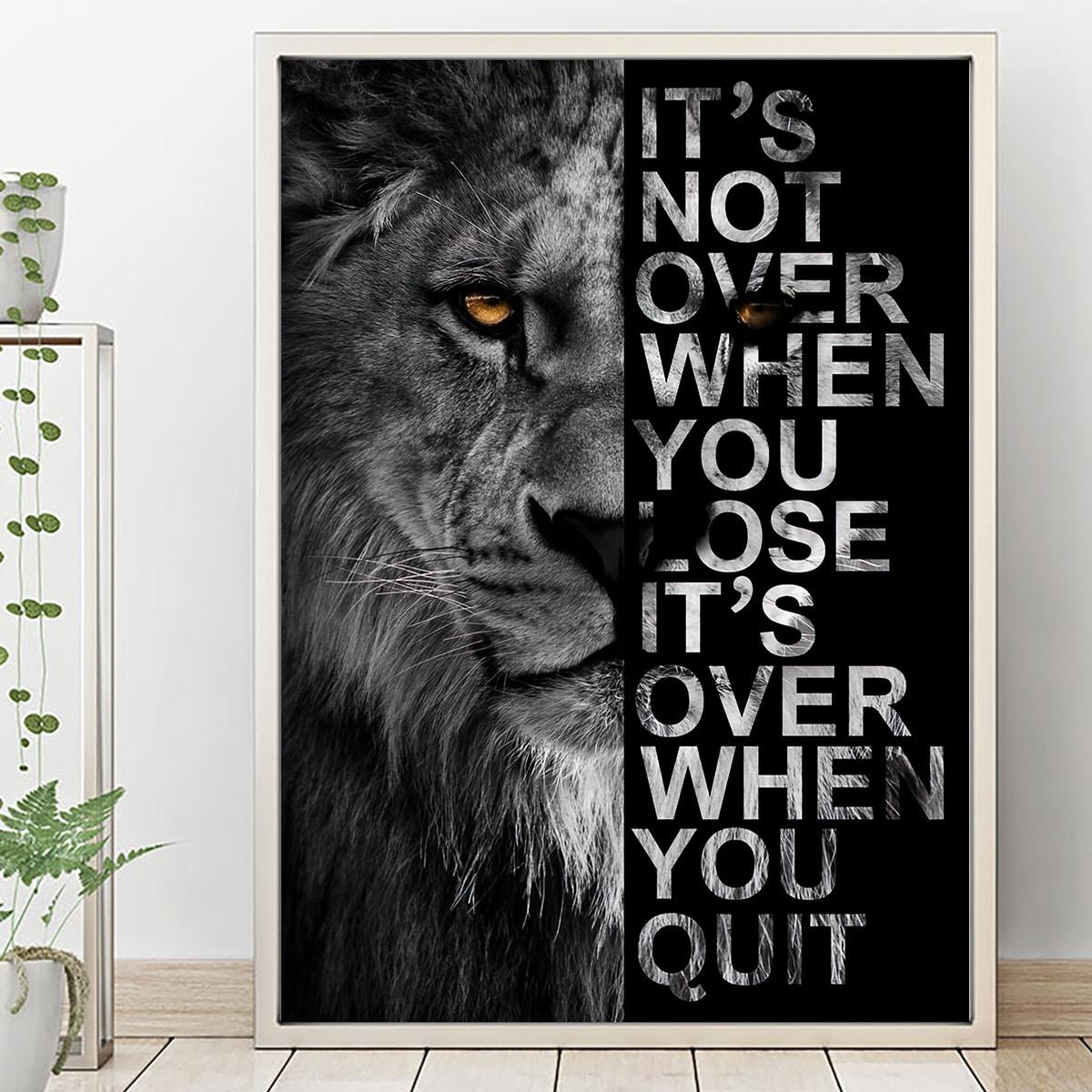 Картина без рамы с принтом льва SHEIN. Цвет: черный и белый