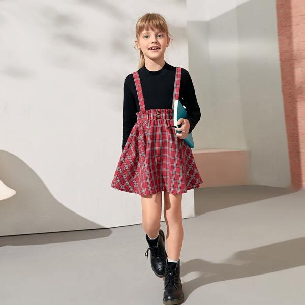 Girls Plaid Print Crisscross Back Pinafore Skirt, Burgundy