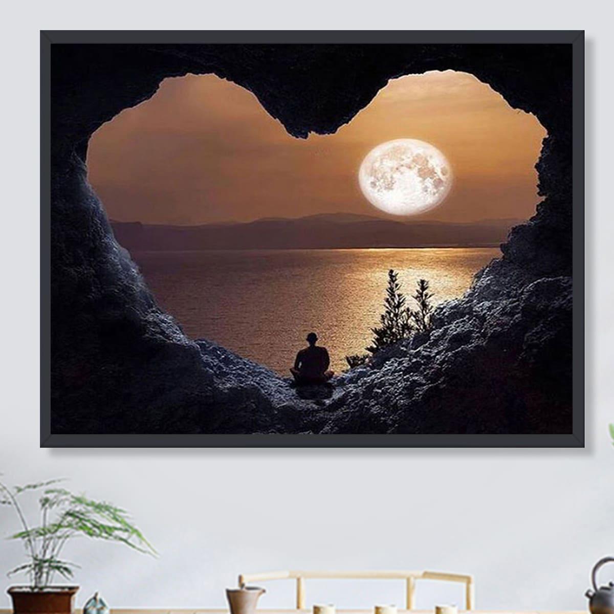 DIY Алмазная картина без рамы с ландшафтным принтом SHEIN. Цвет: многоцветный